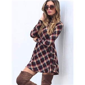 High Neck Long Sleeve Plaid Day Dress
