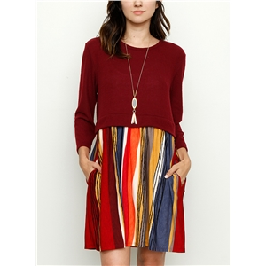 Round Neck Long Sleeve Striped Splicing Dress