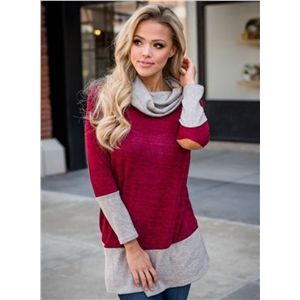 Fashion Cowl Neck Long Sleeve Color Block Tee