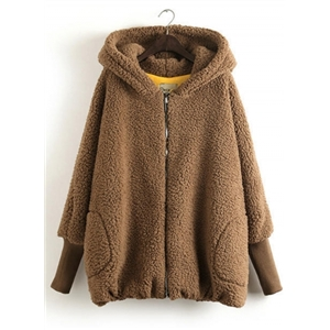 Fashion Cartoon Bear Full Zip Hooded Coat