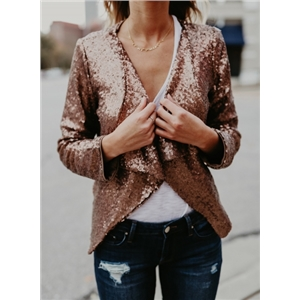 Fashion Long Sleeve Open Front Sequin Coat