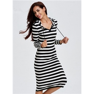 Casual Striped Long Sleeve Hooded Midi Dress