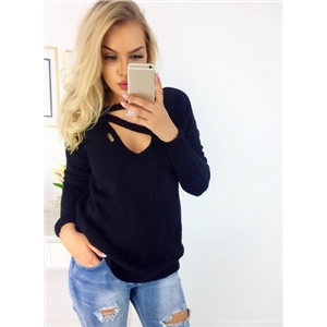V Neck Solid Loose Fit Knit Tee