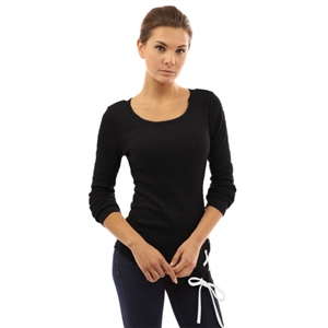 Slim Fit Long Sleeve Round Neck Knit Tee Shirt
