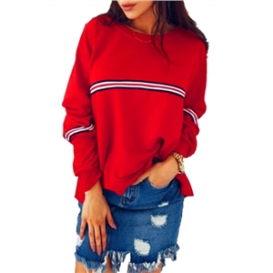 Fashion Striped Long Sleeve Loose Pullover Tee