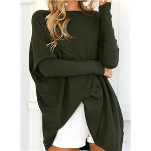 Solid Batwing Sleeve Loose Pullover Tee