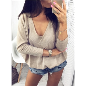 Deep V Neck Batwing Sleeve Solid Color Pullover Tee Shirt
