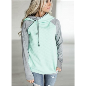 Fashion Color Block Drawstring Pullover Hoodie
