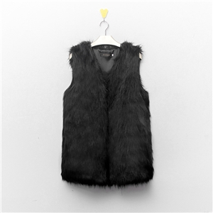 Winter Women Long Hair Faux Fur Vest Femme Fur Coats