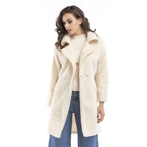 Winter Women Woolen Blend Coat Coat Female fur Collar