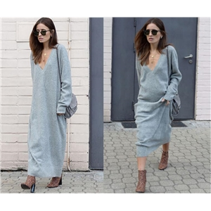 Casual Loose Straight Knitted Cotton Long Dress