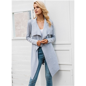 Turn Down Collar Long Sleeve Solid Color Open Front Cardigan
