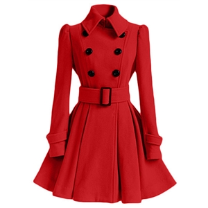 Fashion Long Sleeve Double Breasted Trench Coat