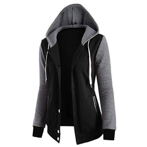 Color Block Casual Hooded Coat