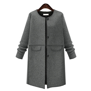 Plus Size Solid Color Single Breasted Coat