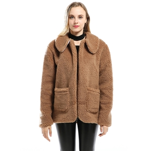 Turn Down Collar Long Sleeve Solid Color Lamb Wool Coat