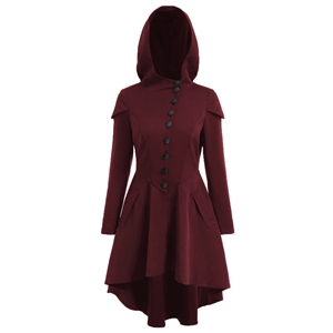 Hooded Long sleeve Solid Color Back Lace-up Coat