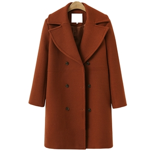 Turn Down Collar Long Sleeve Solid Color Double Breasted Coat
