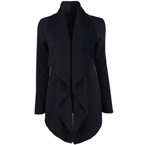 Turn Down Collar Long Sleeve Asymmetric Design Solid Color Coat