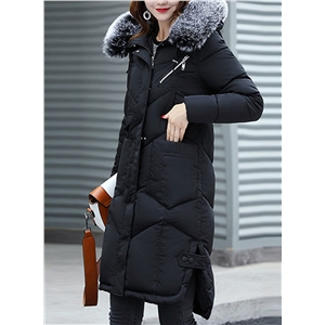 Fashion Longline Coat with Faux Fur Trim Hood