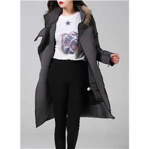 Fashion Faux Fur Trim Thicken down Coat
