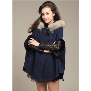 Fashion Bow Cloak Coat with Faux Fur Trim Hood