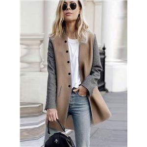 Fashion Single Breasted Color Block Coat