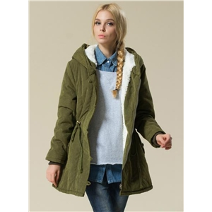 Fashion Long Sleeve Hooded Parka Coat