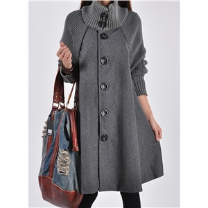 High Neck Long Sleeve Solid Color Cloak Wool Coat