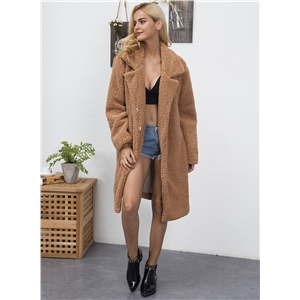 Turn Down Collar Long Sleeve Solid Color Faux Fur Coat