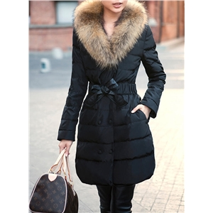 Furry Collar Long Sleeve Down Coat with Belt