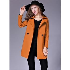 Turn Down Collar Long Sleeve Solid Color Slim Fit Long Coat