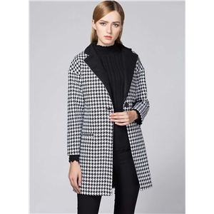 Plaid Turn Down Collar Wool Coat