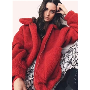 Fashion Full Zip Loose Lamb Wool Coat