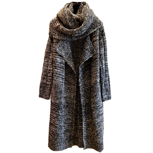 Turn Down Collar Long Sleeve Open Front Cardigan with Scarf