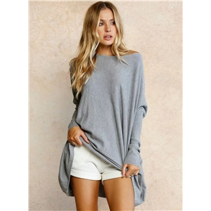 Fashion Solid Loose Fit Knit Pullover Sweater