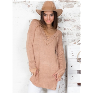V Neck Casual Lace up Long Sleeve Knit Sweater