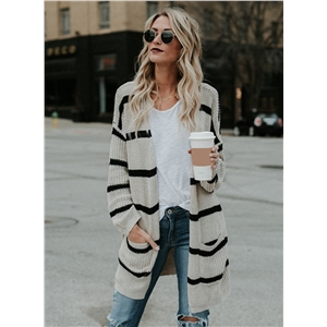 Fashion Long Sleeve Stripe Open front Cardigan