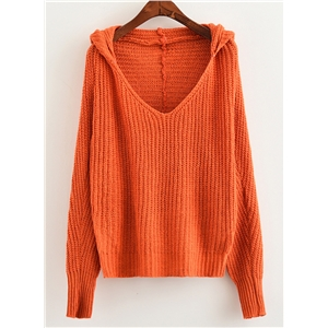 Hooded V Neck Batwing Sleeve Solid Color Pullover Sweater