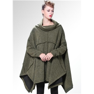 Turtleneck Loose Solid Color Knit Coat