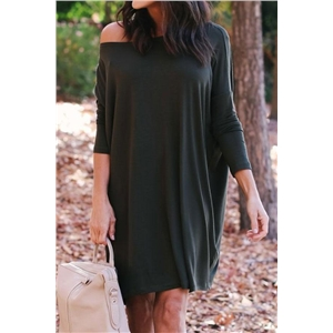 Solid Loose Fitting Casual Dress