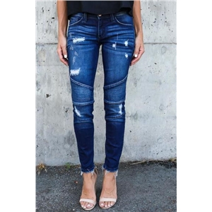 Dark Piped Frayed Denim Pants