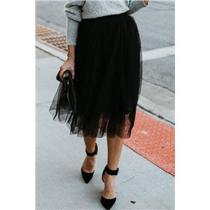 Stylish PLeated Multilayer Solid Skirt