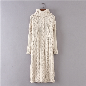 Cable Knit Turtleneck Slit Maxi Sweater Dress