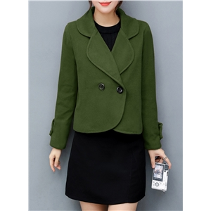 Turn Down Collar Slim Fit Wool Coat
