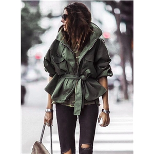 Solid Color Turn-down Collar Loose Fit Coat with Belt