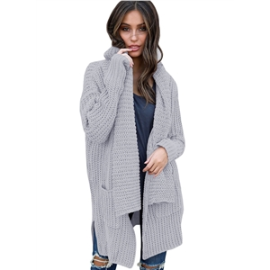 Long Sleeve Solid Color Open Front Cardigan