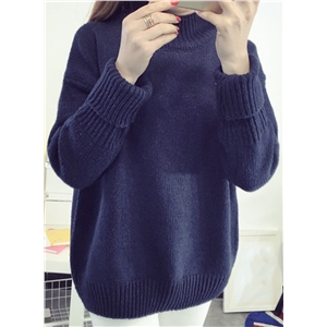 Fashion Loose Fit High Neck Knit Sweater