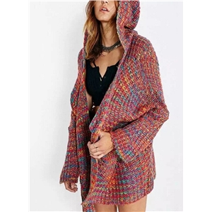 Hooded Color Mixture Open Front Cardigan