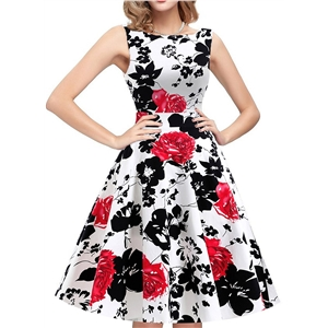 Floral Sleeveless A-line Swing Dress